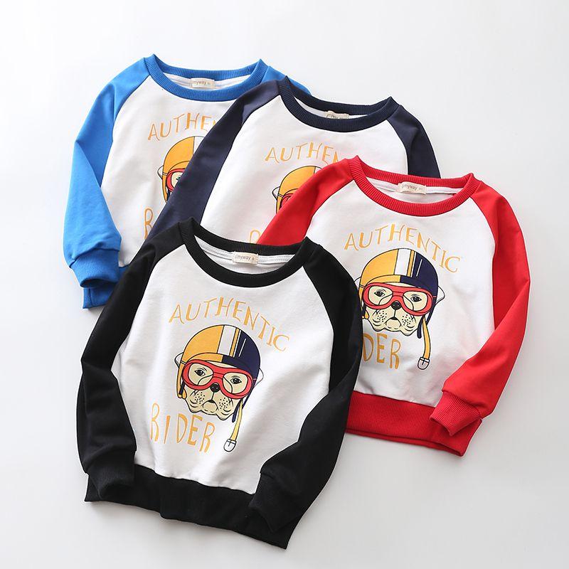 cd1cab2ce1b Boy s Cotton Crewneck Long Sleeve Cute Cartoon T-Shirt Sports ...