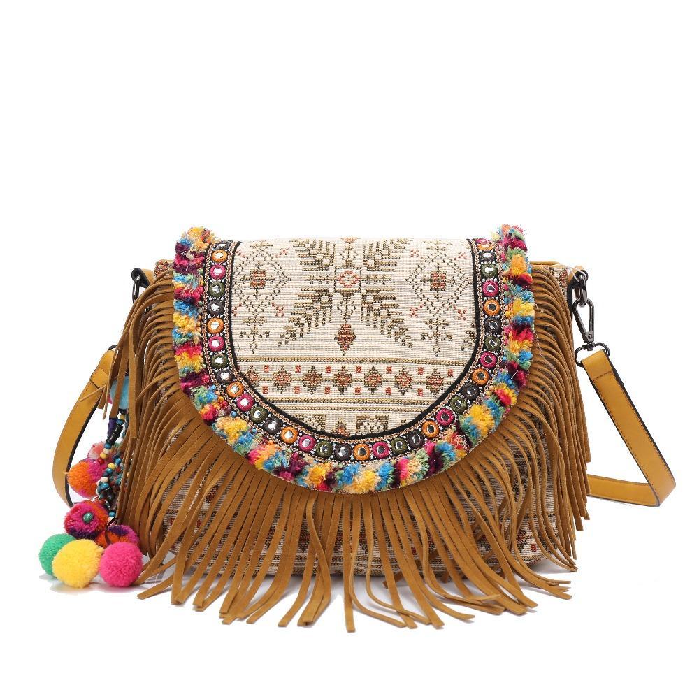 13e789d850c10 Großhandel Frauen Hippie Bohemian Handtasche Spitze Quaste Perlen Stickerei  Tasche Umhängetasche Handgemachte Coon Bag Nationalen Ethnischen Taschen  Von ...