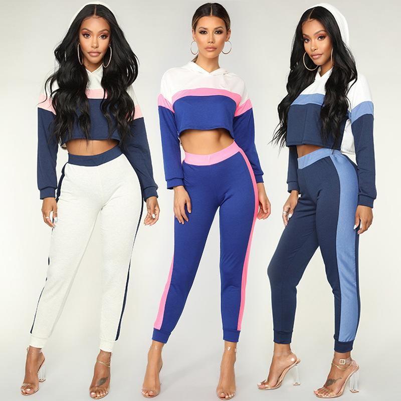 2019 Women Striped Tracksuit Long Sleeve Patchwork Hoodies