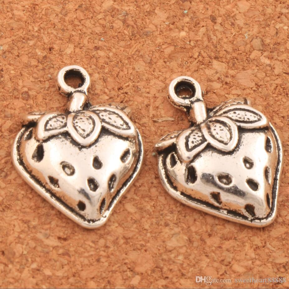 200pcs/lot Strawberry With Leaf Spacer Charm Beads 14.5x19.8mm Tibetan Silver Pendants Alloy Handmade Jewelry DIY L930