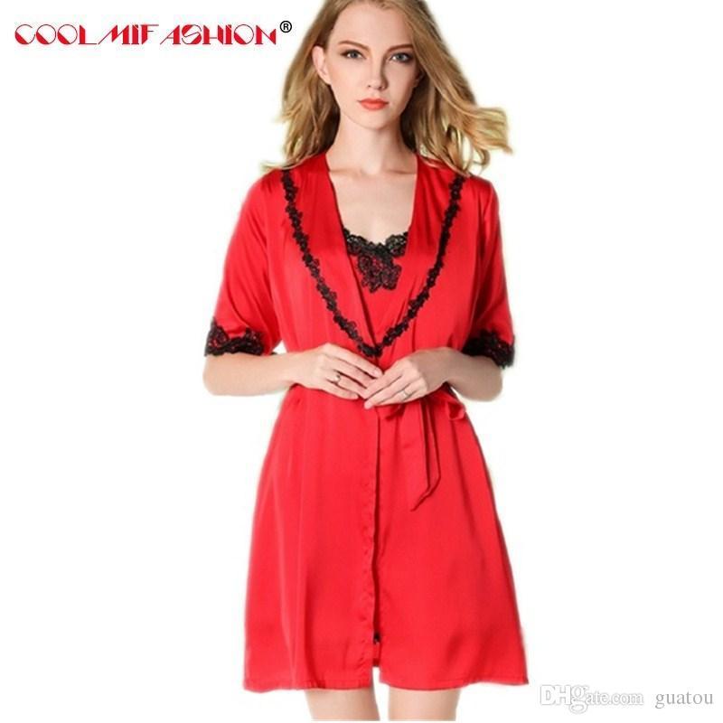 Luxury Sexy Silk-like Women Nightdress Robes dress Lace Nightwear Suits  Silk-like Sleepwear Sets Spring Summer Robe Femme Robe   Gown Sets Cheap  Robe   Gown ... b6cd107e2
