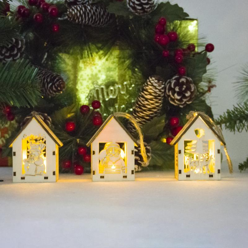 christmas style cute mini wooden house with lights hanging decor ornaments christmas home decor for xmas cute kids gifts beaded christmas ornaments best - Best Christmas Home Decorations