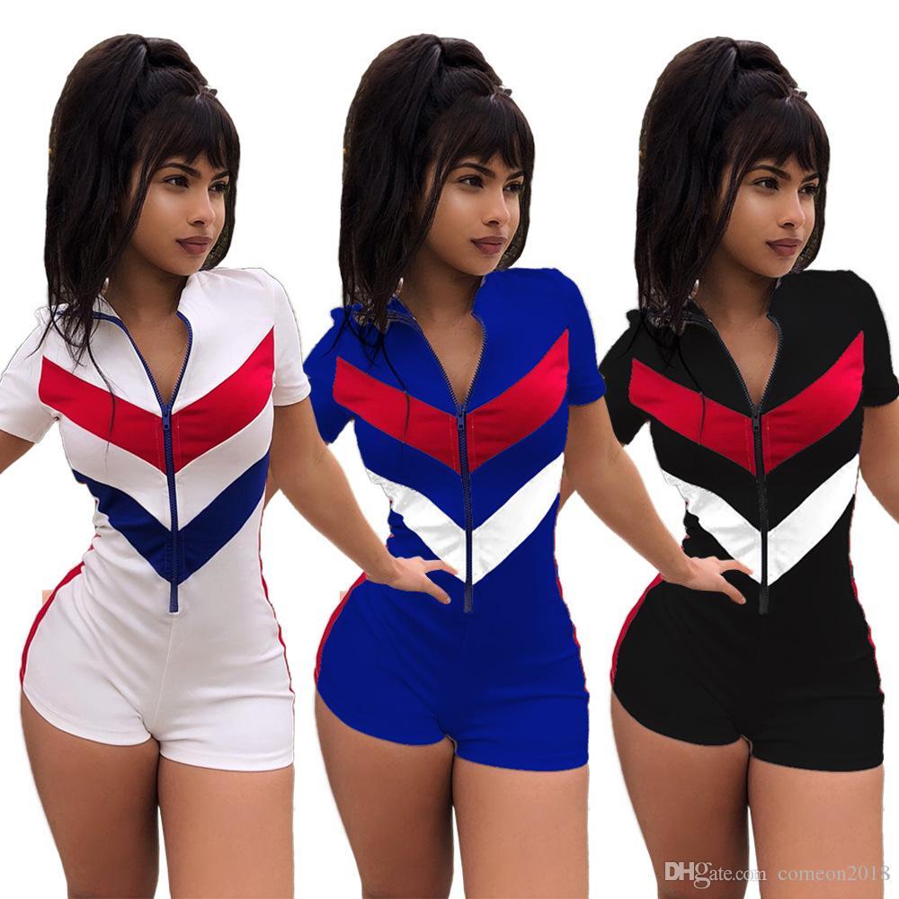 d9b2a42ecb Fashion Women Clothes Women Bodycon Jumpsuit Front Zipper Skinny Short  Sleeve Patchwork Club Rompers Women Jumpsuit Slim Body Short Feminino Women  Jumpsuits ...