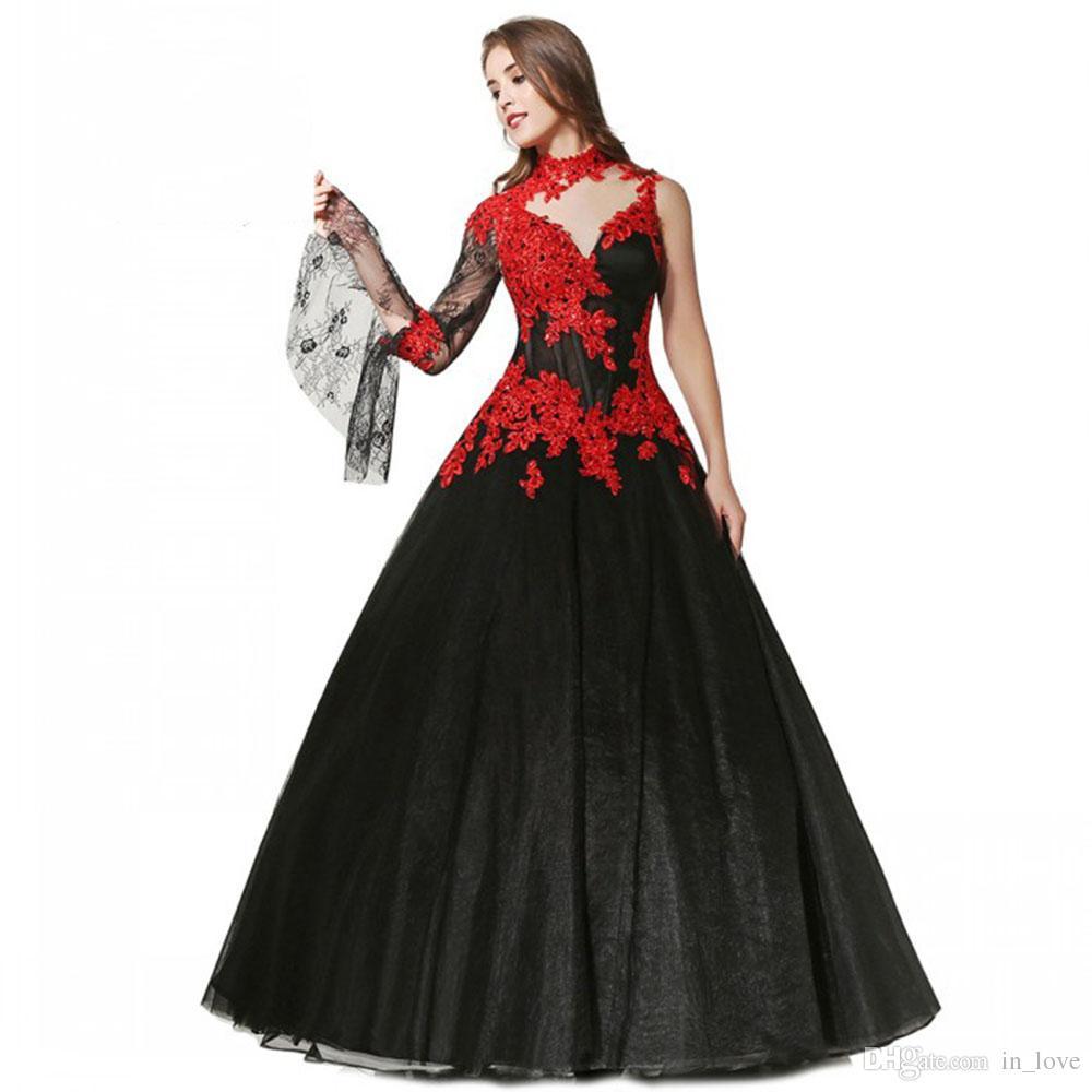 f14eb82c5 Compre Diseño Gótico Vestido De Novia Rojo Y Negro Cuello Alto Trompeta Mangas  Largas Listones Apliques De Encaje 2019 Vestidos De Novia Vintage Por  Encargo ...