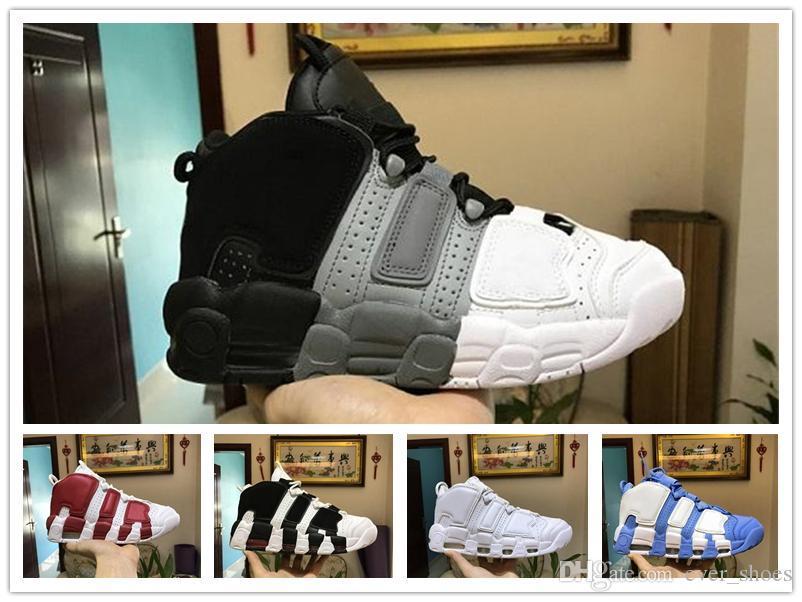 buy online 1efab e5451 Großhandel 2018 Neue Luft Mehr Uptempo Basketball Schuhe Für Männer Mens  High Quality Designer Schwarz Grau Weiß Oreo Scottie Pippen Sneakers Zapatos  7 12 ...