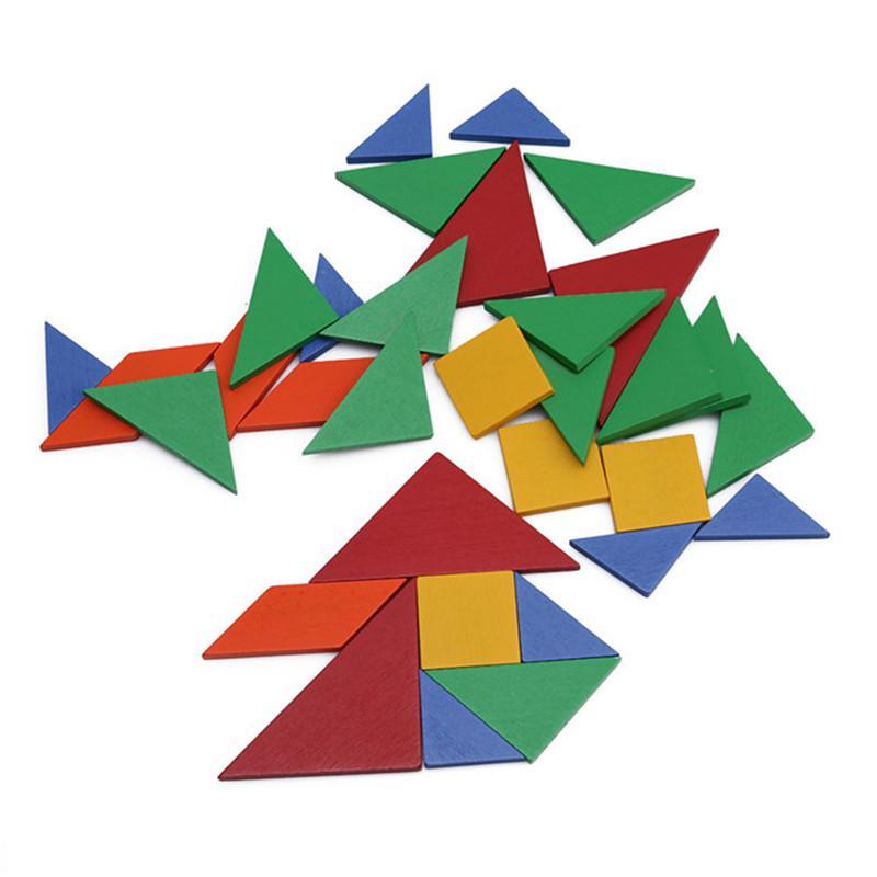 32 unidades de Color cambiado diy rompecabezas juguetes de madera niños juguetes educativos bebé juego junior tangram aprendizaje conjunto MU896265