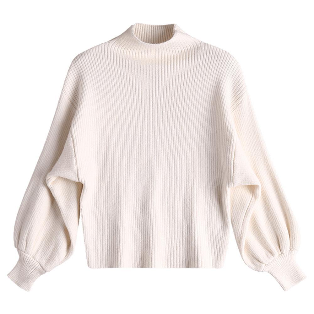 4a72abb6519 Großhandel Wipalo Baumwolle Frauen Mock Neck Lantern Sleeve Strickpullover  Solid Casual Drop Schulter Schlank Pullover Pullover Jumper Outwear  Y18102002 Von ...