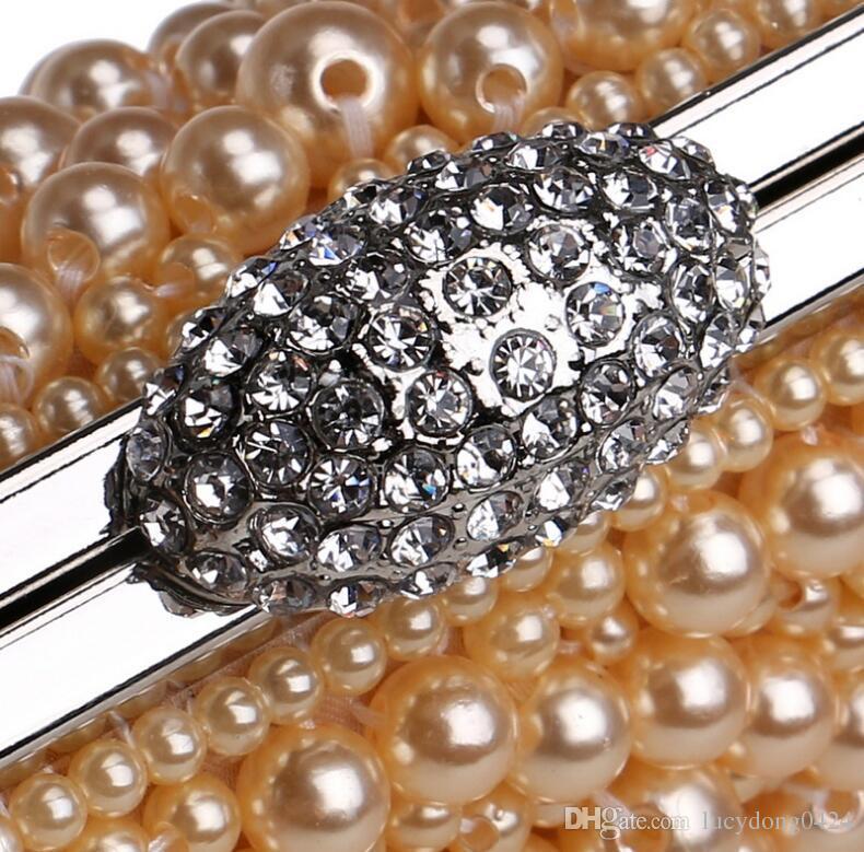 Nuevo color múltiple con cuentas con cuentas de gamba de gama alta aristócrata bolso de noche señoras perla bordado bolso de noche vestido de noche vestido de noche