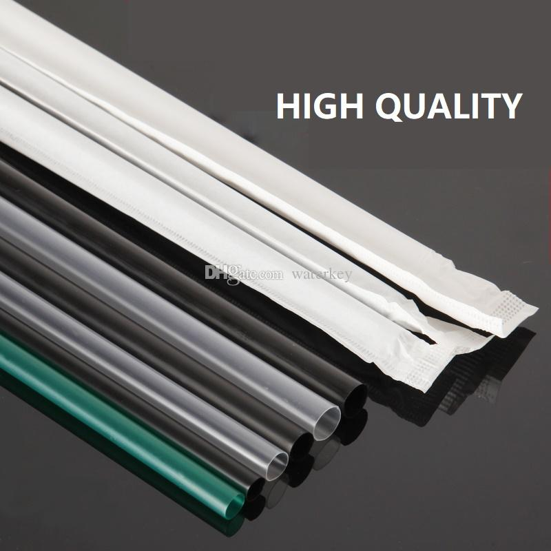 Straight Drinking straw Plastic Disposable Straw For bar party cold drink shop fast food Drink ware Green Clear Black Individually packed