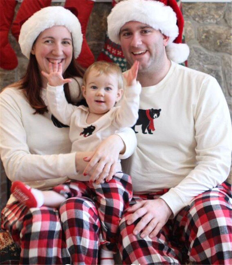 090f566c67 Christmas Pajamas Family Matching Outfit Cartoon Bear Long Sleeve + Striped  Grid Pants Kids Adult Xmas Sleepwear Bedgown Nightwear UK 2019 From ...