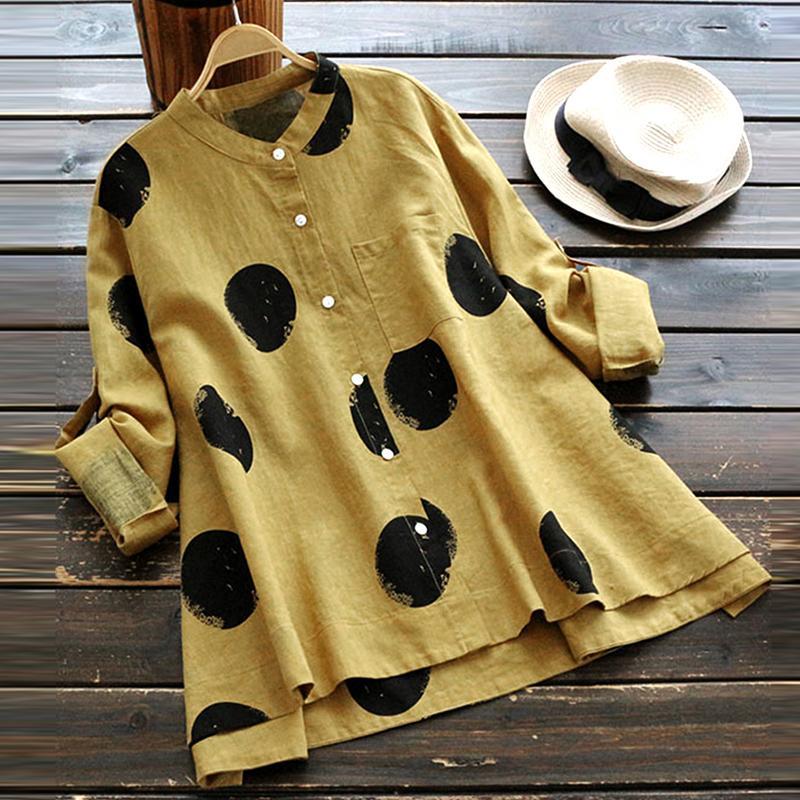 95ba7bb7a2889 2019 2018 ZANZEA Autumn Women Polka Dot Blouse Casual Buttons Down Long  Sleeve Work OL Shirt Cotton Linen Loose Top Blusas Plus Size From Yanmai