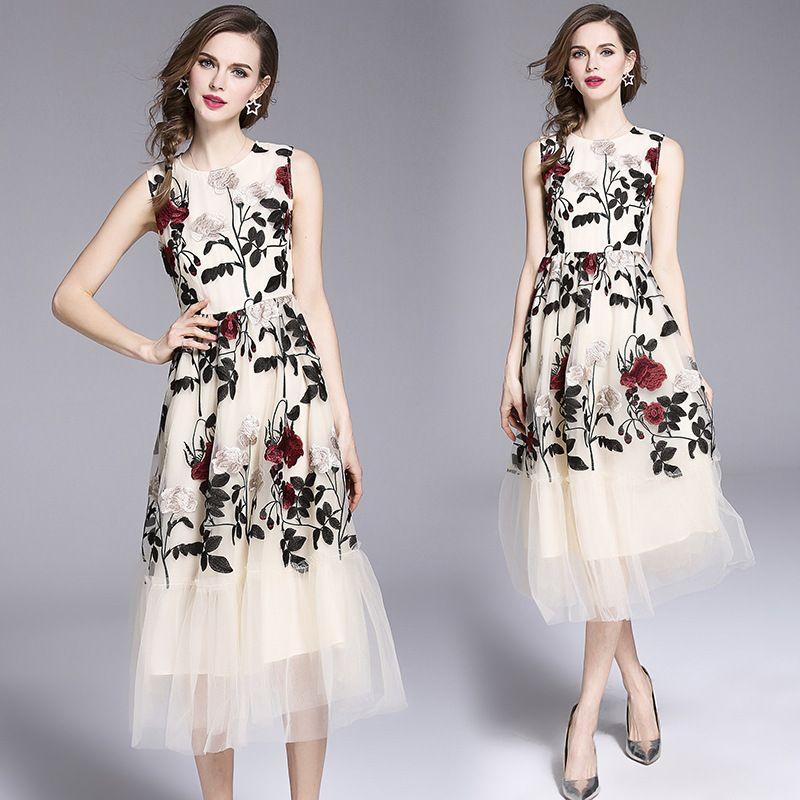 best authentic e081d ded70 I migliori abiti da sera delle donne s ricoprono il nuovo vestito da stile  Elegante garza di rete estiva Abito senza maniche gonna lunga stile gilet