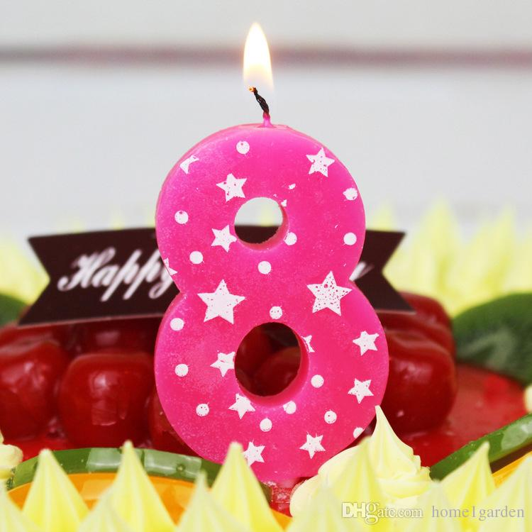 Baby Blue Pink Birthday Numbers Candles Cake Decoration Party For Supplies Rose Floating From Home1garden