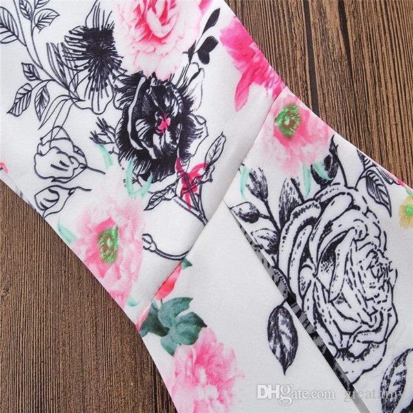 Baby girl Kids Summer clothes outfits set Big Bow Tank Tops Vest Tube Strap Shirt + Rose Floral Legging Pants bell-bottom