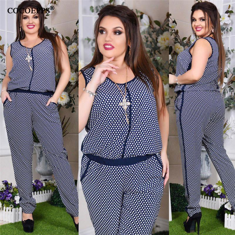 7e0b7e9145bed 5XL 6XL Plus Size Summer Women Jumpsuit Floral Print 2018 Sleeveless Big  Size Romper overall Casual Female Large Jumpsuit