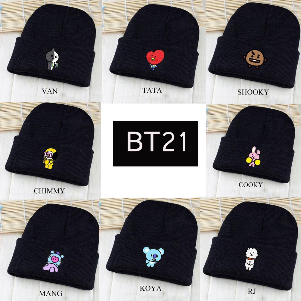 2018 BTS ARMY Fans Fashion Gifts Kpop Bangtan Boys BT21 Beanie Hip Hop Hat  Unisex Cute Cartoon Printed Knitted Wool Casual Cap
