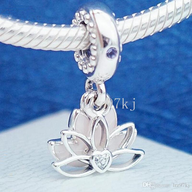ae6ee4e40 2018 Mother's Day 925 Sterling Silver Serene Lotus Flower Hanging Charm  Bead Fits European Pandora Jewelry Bracelets Necklaces & Pendants