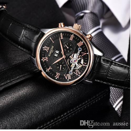 ccde29b85b6b Compre BINSSAW Marca De Lujo Para Hombre Relojes Automáticos Reloj Mecánico  Tourbillon Reloj De Cuero Casual De Negocios Relojes De Pulsera A  75.13  Del ...