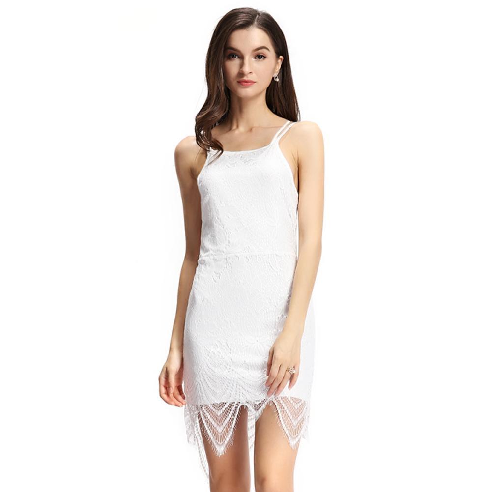 502fc06bff7a Compre 2019 Verão Sexy Mulheres Bodycon Vestido De Renda Sobreposição Alça  Ajustável Slip Dress Tie Voltar Aberto Parte De Trás Mini Vestido Branco  Vestidos ...