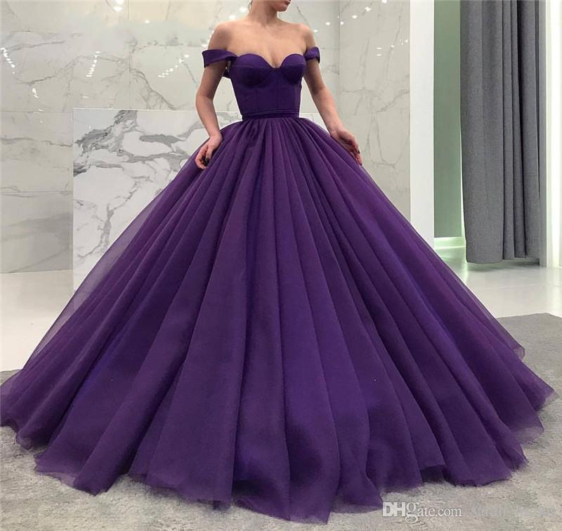 4ff33570198c 2018 Purple Ball Gown Prom Dresses Off Shoulder Plus Size Puffy Tulle Cheap  Simple Arabic African Quinceanera Formal Evening Party Gowns Canada 2019  From ...