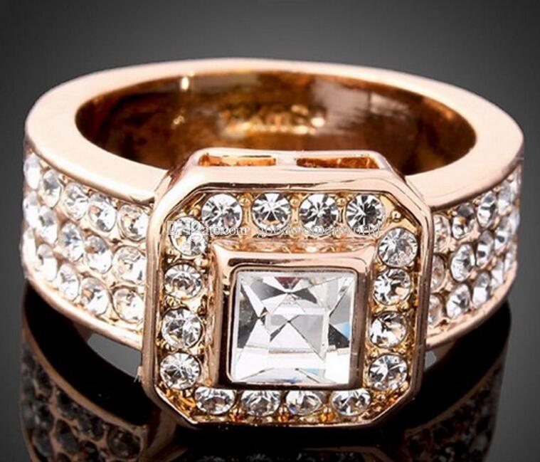 Neue feine Kristall Frauen Ringe Weißgold GP Gelbgold Rose Gold Ehering Ringgröße 6-9