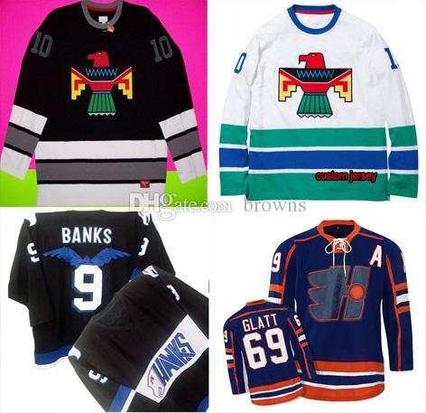 c8051941 2019 Custom Moive Stitched THUNDERBIRD #10 #9 ADAM BANKS #69 Glatt Halifax  Highlanders Black Gray Shirt Box Logo Bird Hockey Jersey S From Browns, ...