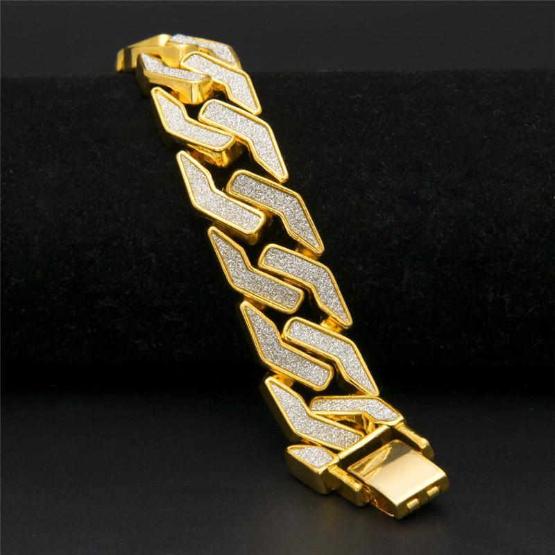 Cuban Chain Bracelet Pour Hommes Tops Qualité Pop Club Accessoires Ice Out Hip Hop Bracelets Plaqué Or Bracelet Zircon Chaînes