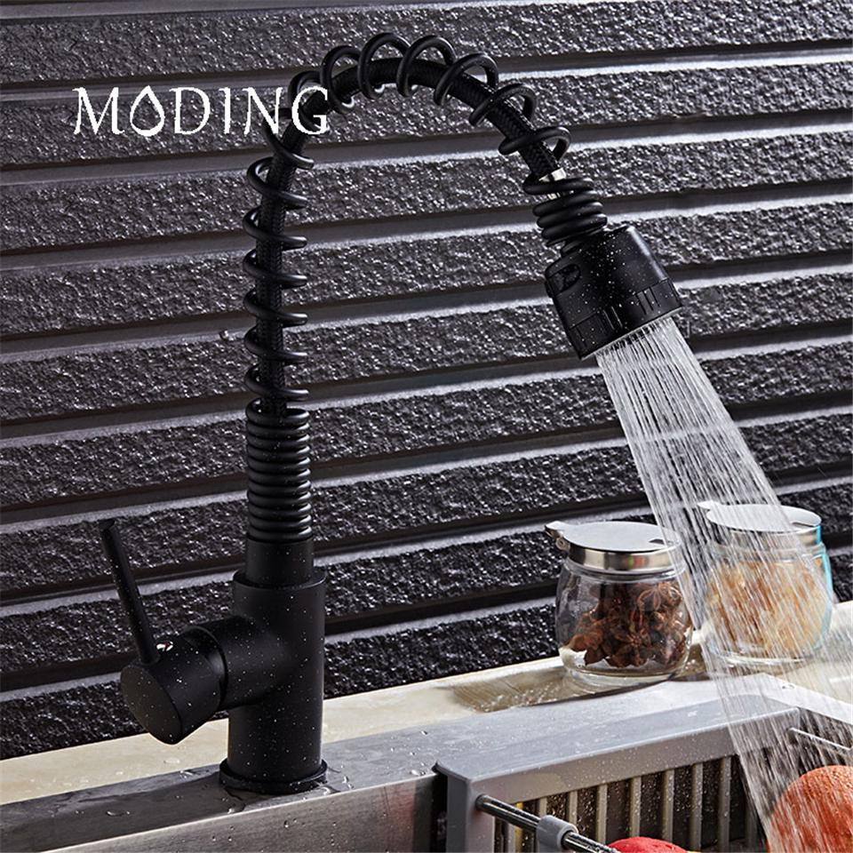 Best Moding Pull Down Kitchen Faucet Brass Black Baked Universal ...