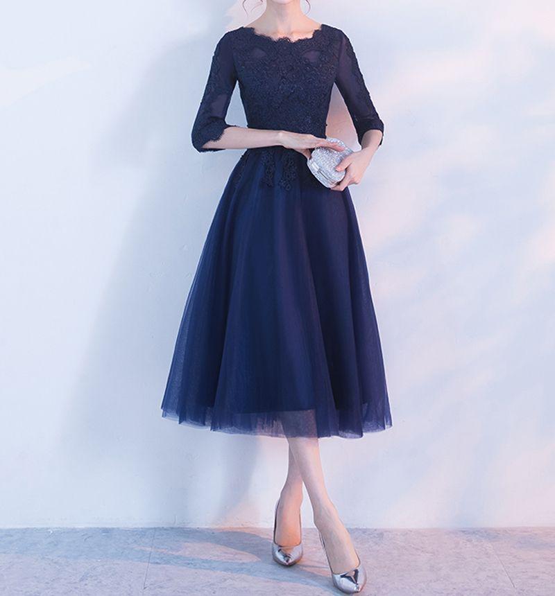 Oscura elegante madre Armada de la novia posterior de la cremallera de tres cuartos mangas suave tul de té longitud madre de los vestidos de la novia