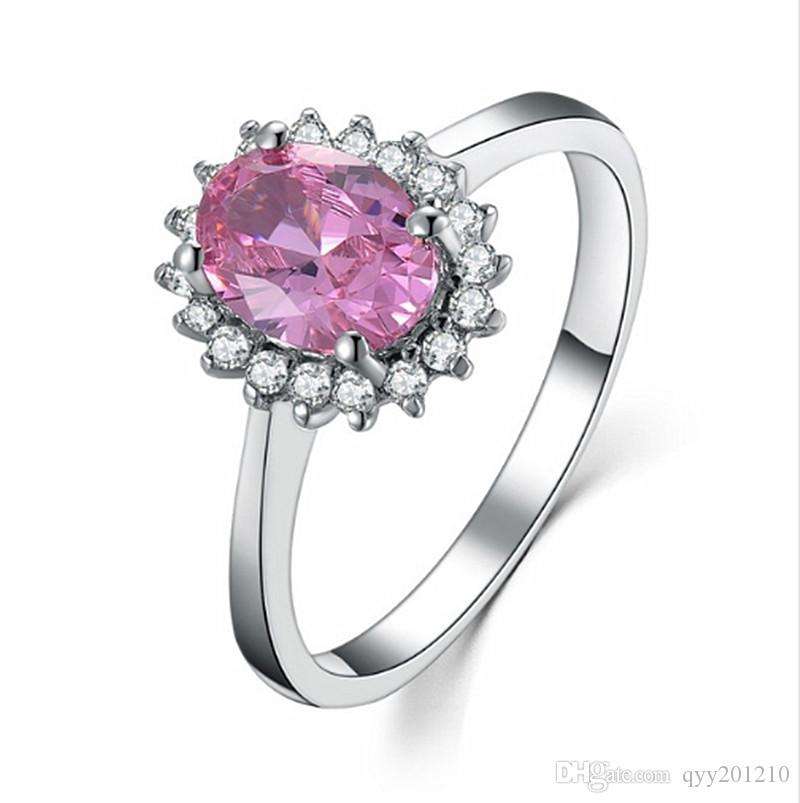 b52c614d18db7 Sterling Silver Propose Ring 2CT Lovely Jewelry Engagement Synthetic Pink  Diamonds Oval Ring 925 Brand Wedding White Gold Color