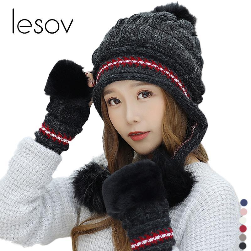 4d917d18509 2019 Lesov Knitted Winter Gloves Beanie Hat Women Pompom Slouchy Beanies  Skull Cap Fingerless Gloves Mittens Gorro Luvas Mujer From Value111