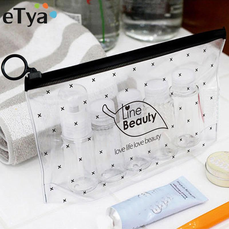 ETya Fashion Women Clear Cosmetic Bags PVC Transparent Toiletry Bags Travel  Organizer Necessary Beauty Case Bath Wash Makeup Bag Travel Train Case Best  ... 56df426fce9cc