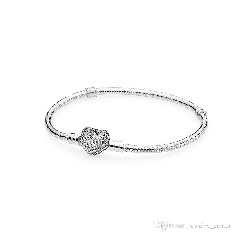 Authentic 925 Sterling Silver Heart Charms Bracelet Fit Pandora European Beads Jewelry Bangle Real silver Bracelet for Women