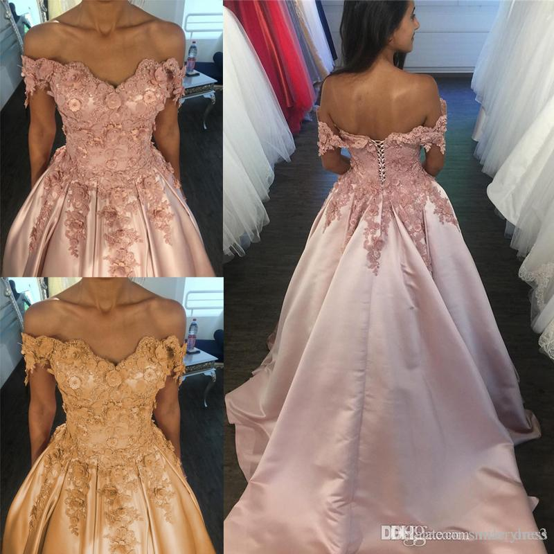 14dc5d6c Amazing Pearl Pink Evening Dresses 2017 Off The Shoulder Satin Sweep Train  Lace 3D Floral Prom Dresses Lace Up Celebrity Formal Gowns Junior Evening  Dresses ...