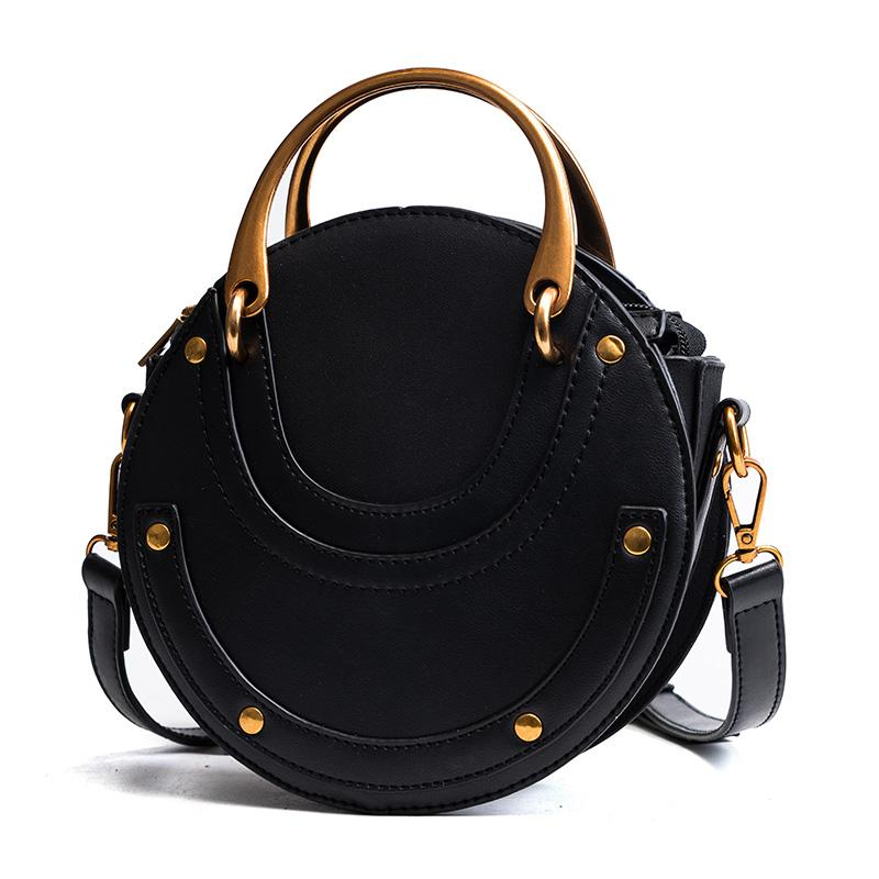Women PU Leather Round Shape Handbag Circle Crossbody Bag Top Handle  Shoulder Purse Messenger Bag Three Colors Purses Designer Handbags From  Bosonn
