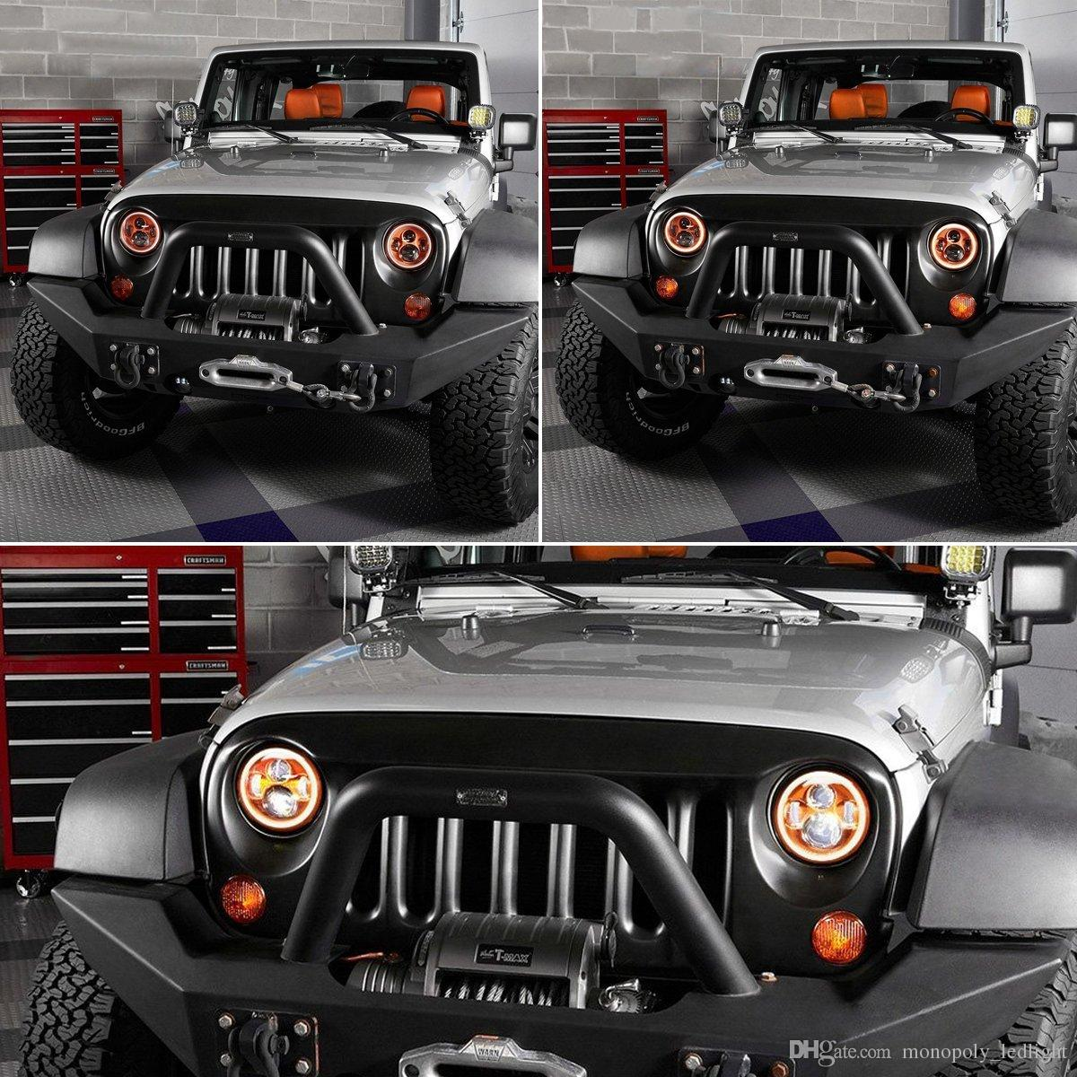 """7"""" Daymaker LED Halo Ring Angel Eyes Headlight For JEEP, Around Orange Projector Light Wrangler Replacement Eagle Light Projection Headligh"""