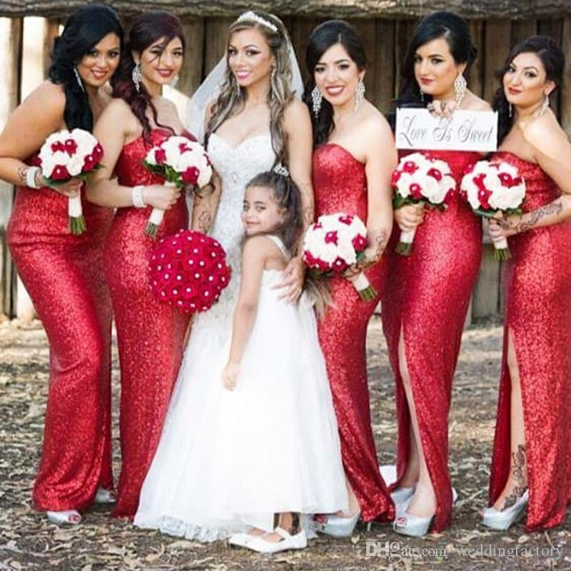 2019 Sparkly Red Sequined Fabric Long Bridesmaids Dresses Strapless Sheath  Column Plus Size Bridesmaid Dress With Split Maid Of Honor Gown Bridesmaid  ... 3cb5e03e599a