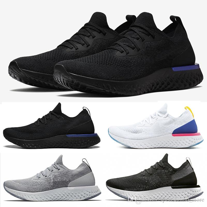 buy popular 4ff30 f963f Acheter Nike Epic React Flyknit 2019 Vente Chaude Epic React Pink Beam  Hommes Femmes Blanc Chaussures De Course Été Causal Mesh Sport Respirant  Athletic ...