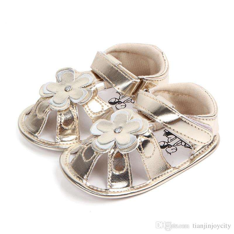 df5f1491e2f Sparkle Flower Baby Sandals For Girls PU Leather Soft Sole Baby Summer Shoes  Toddler Anti Slip Baby Girl Sandals Silver Golden Boy Shoes Online Boys Shoe  ...