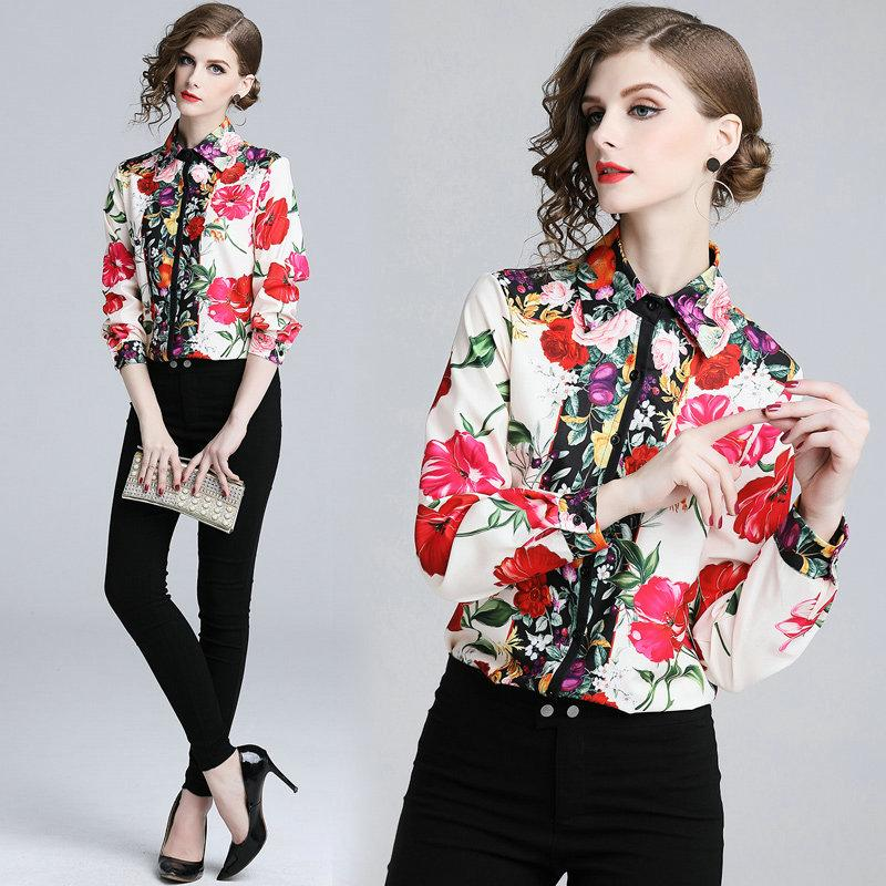 e2663587c4c73f 2019 Floral Shirt Women Tops Long Sleeve Business Blouses Office Shirt  Fashion Spring Autumn Shirts Elegant Laides Tops From Top_youshanping, ...