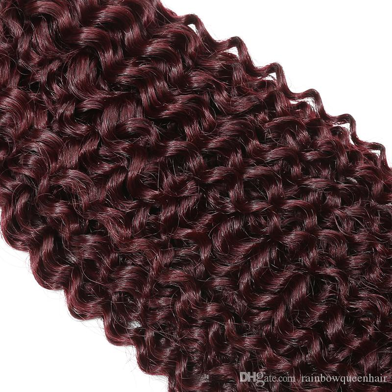 8A Uprocessed Grade Kinky Curly 99J Mink Brazilian Hair Weave Weft Burgundy Human Hair Bundles Deep Curly Wine Red Kinky Curl weave