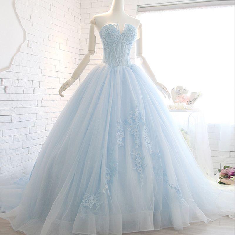 2018 Light Sky Blue Ball Gown Quinceanera Dresses