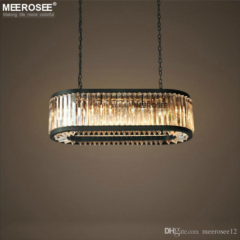 Vintage Crystal Chandelier Lighting Rectangle Luminaires Hanging