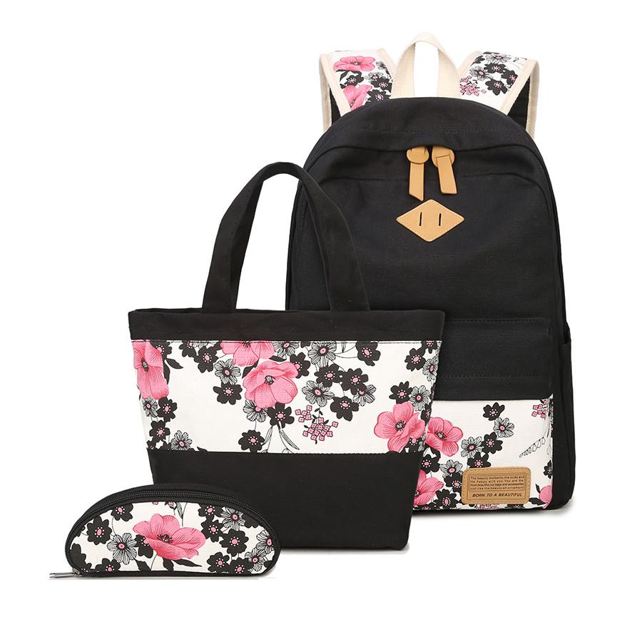 b1469139cb11 3 Pcs School Bags For Girls Chinese Style Floral Printing Backpack Girl  Schoolbag Flower Bag Ethnic Backpacks For Teenage Girls