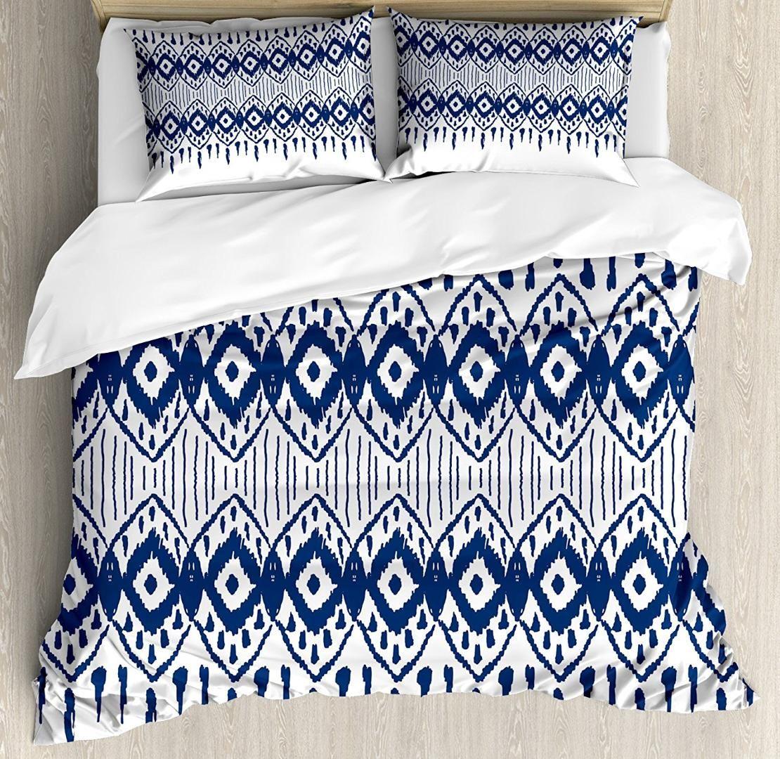 Ikat Duvet Cover Set Asian Traditional Design Borders Tribal Art - Geometrical-shapes-on-bedding