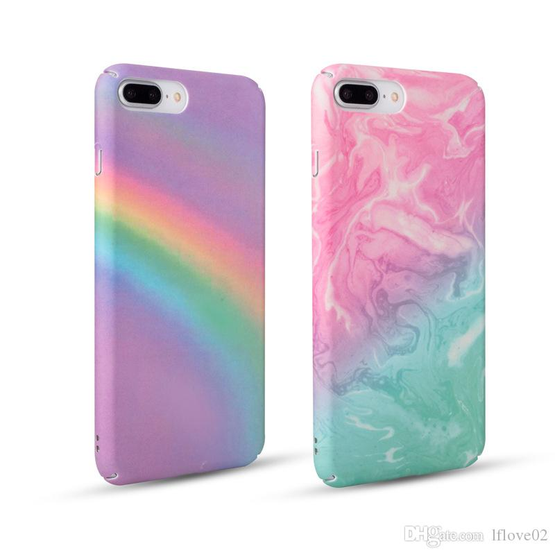 Fashion Colorful Gradient Rainbow Phone Case For iPhone 6 6S Plus 7 8 X Matte Hard Plastic Back Cover Case PH41