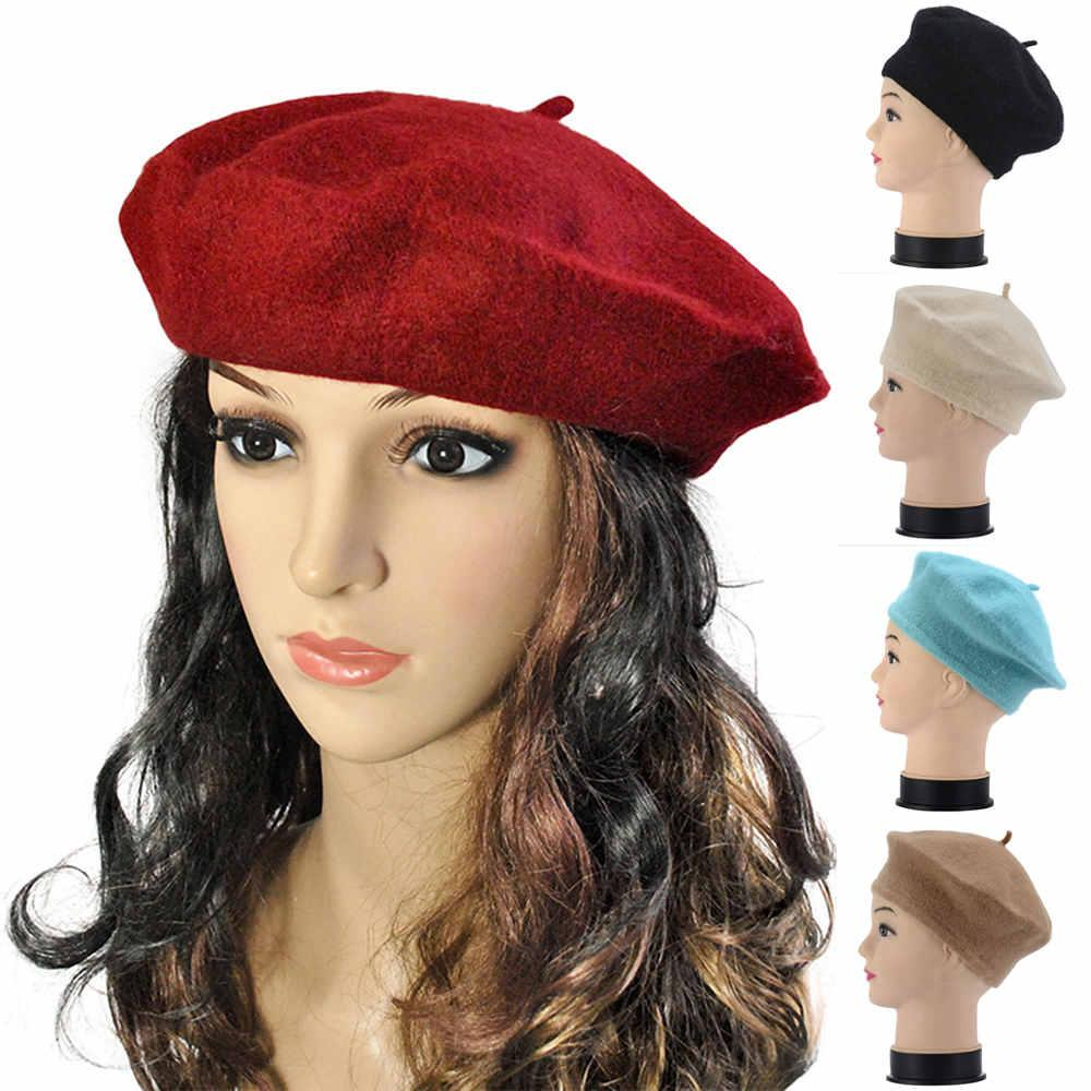 4cc6b7e2a8f 2019 Fashion Lady Women Wool Warm French Classic Beret Beanie Slouch Ski Hat  Cap New From Bensimmons