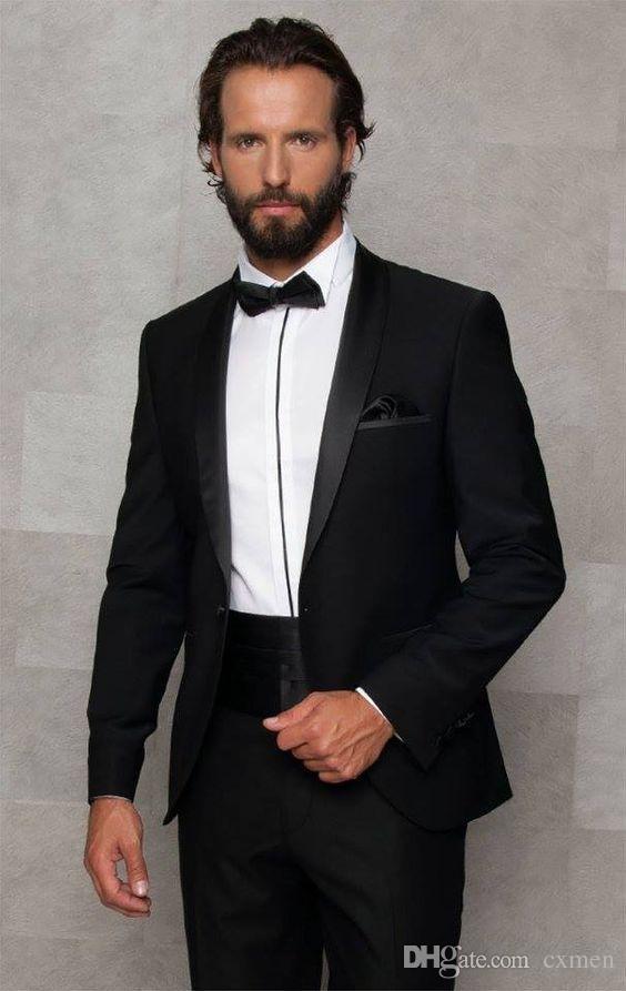 Black Men suits Wedding Slim Fit Groom Tuxedos Vintage Groomsmen Suit Jacket+Pants Bridegroom Formal Men Blazers Black Shawl Lapel