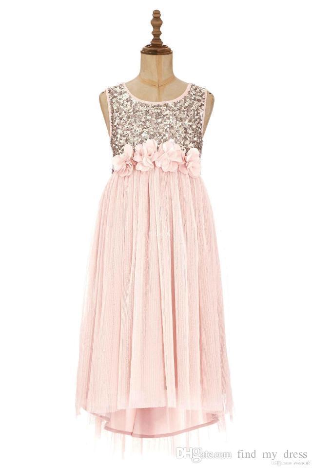 Nouveau chiffon Bling Bling une ligne princesse blush fait à la main fleurs Sash thé longueur courte robe de fille de fleur avec paillettes drapées paillettes moderne