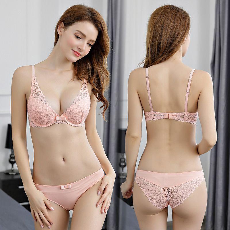 a40b531a8dfa Rosa sujetador y bragas establece sujetador de algodónThick profundo V  empuja hacia arriba sujetador Conjunto de ropa interior sexy encaje bordado  ...